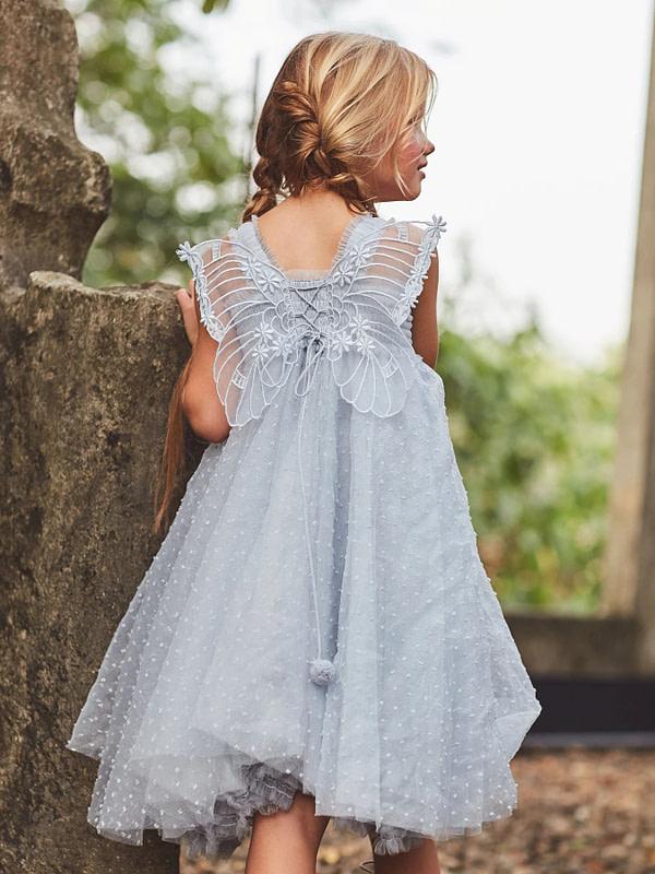 modré tutu šaty so švajčiarskymi bodkami